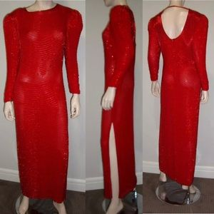 Vintage Long Sleeve RED beaded Evening Gown M